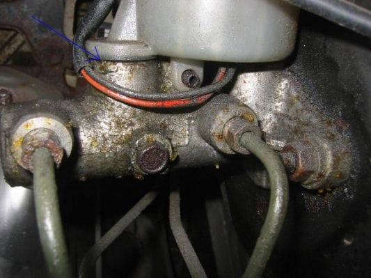 A leaking master cylinder