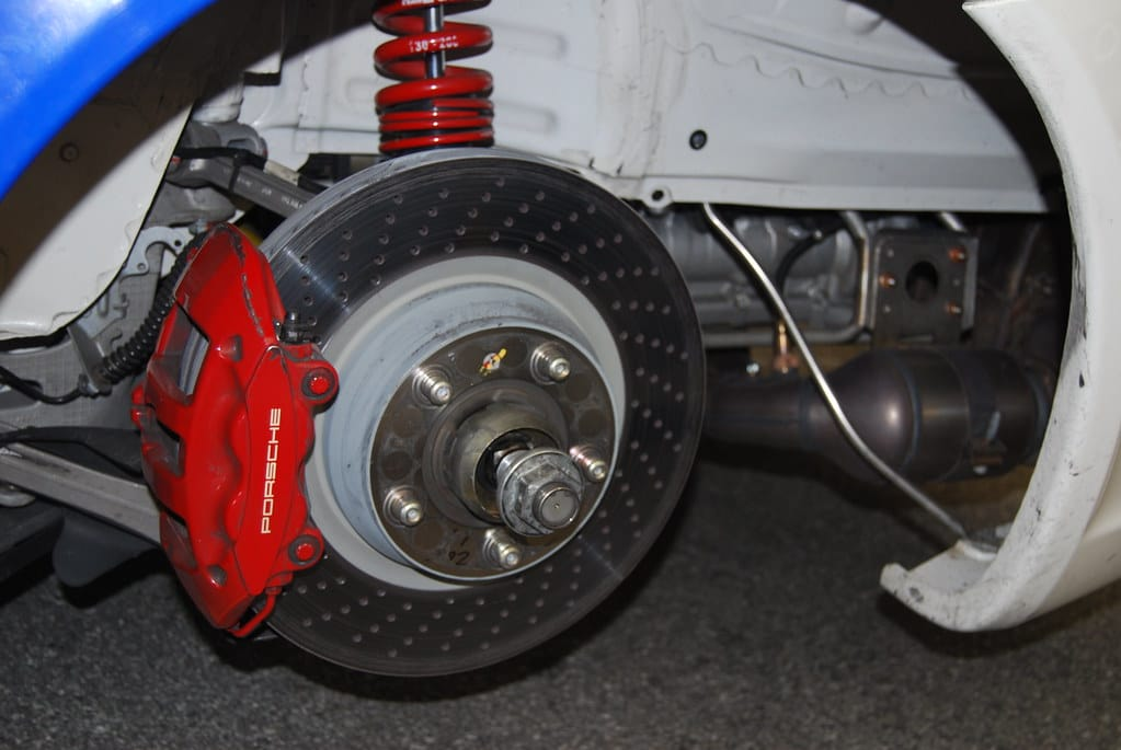 A newly installed brake caliper