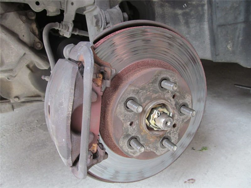 A worn out brake caliper