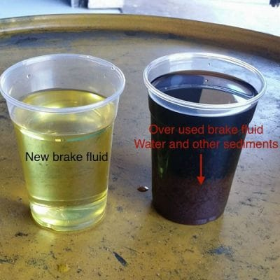 Clear and contaminated brake fluid