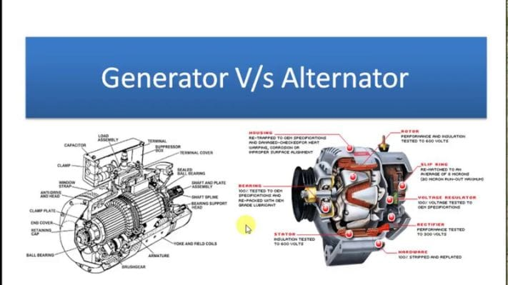 Image Sample of difference between Generator and Alternator
