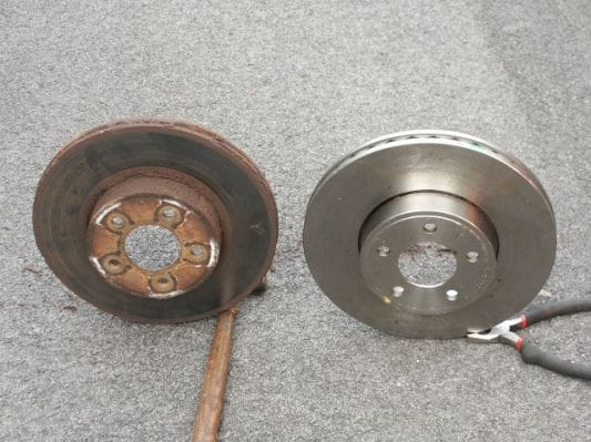 Rusted and clean rotors