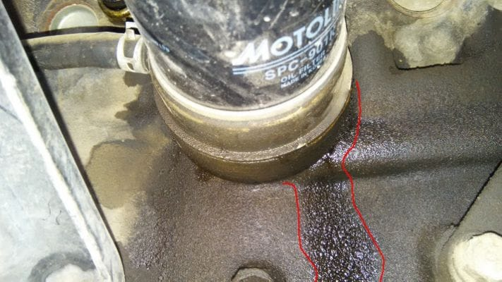 A leaking oil filter