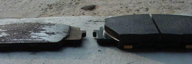 Damged or worn brake pads