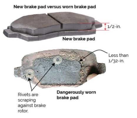 Dangerously Worn Brake Pads