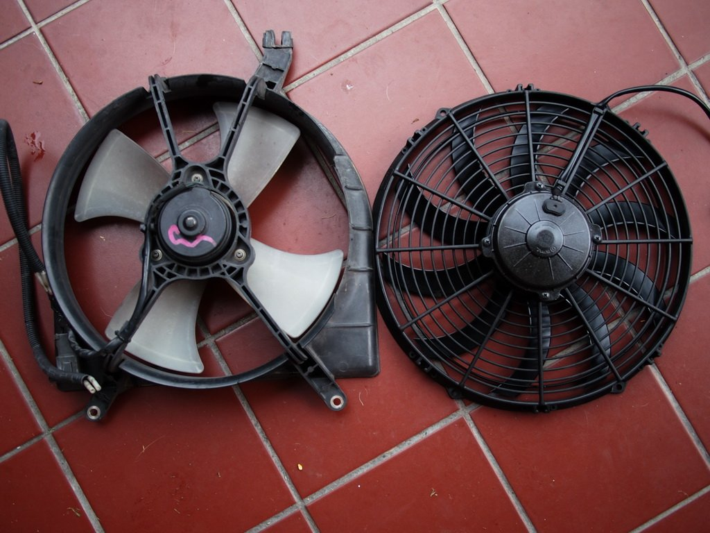 old and new replacement radiator fan