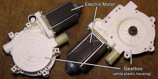 window regulator motor detached from regulator mechanism