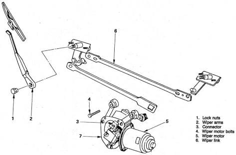 the windshield wiper system showing the wiper motor and wiper transmission
