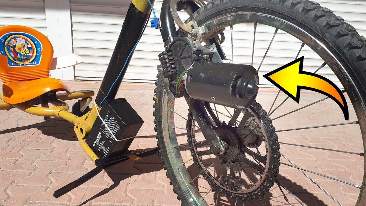 car wiper motor used to power an e-bike
