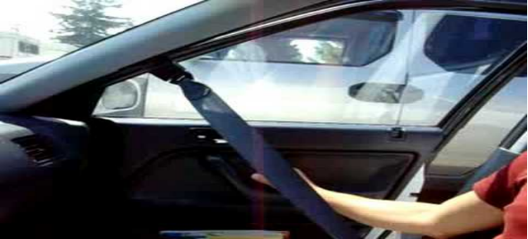 an automatic seat belt on a car